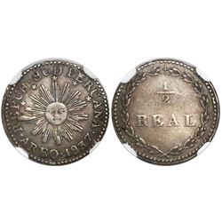 Arequipa, South Peru, 1/2 real, 1837, encapsulated NGC XF 40.