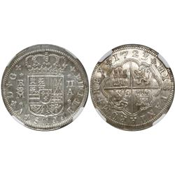 "Madrid, Spain, milled 2 reales ""pistareen,"" Philip V, 1723A, 3 fleurs-de-lis, encapsulated NGC MS 65"