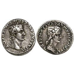 Roman Empire, AR denarius, Caligula, with Agrippina Senior (his mother), 37-41 AD, Lugdunum mint, st