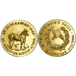 Buenos Aires, Argentina, gold medal, 1854, Constitution, struck over an Ecuador 4 escudos 1839, very