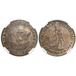 Potosi, Bolivia, 1 sol-sized silver medal, 1839, Regeneration of Bolivia, encapsulated NGC MS 64, fi