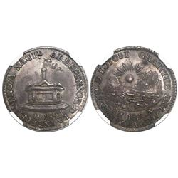 Potosi, Bolivia, 1 sol-sized silver medal, 1841, dedication to the President from the Department of
