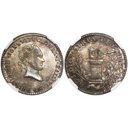 Potosi, Bolivia, 1 sol-sized silver medal, 1844, Ballivian, encapsulated NGC MS 65, finest known in