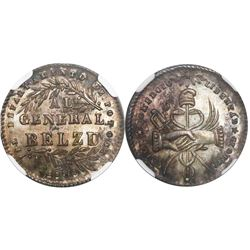 Potosi, Bolivia, 1 sol-sized silver medal, 1849, Belzu, encapsulated NGC MS 65, finest and only spec