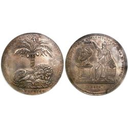 Potosi, Bolivia, large silver proclamation medal, Belzu, 1850, encapsulated NGC MS 63 (oversized sla