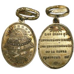 Potosi, Bolivia, oval silver military medal with wreath hanger at top, 1857, Linares.