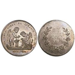 Potosi, Bolivia, large silver medal, 1865, love and society.