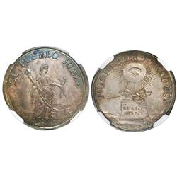 Guatemala, 2R-sized silver medal, 1837, trial by jury, encapsulated NGC AU 58, finest and only known