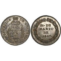 Guatemala, 1R-sized silver medal, 1847, Carrera.