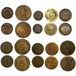 Lot of 10 Puerto Rico brass tokens, some unlisted, ideal for research.