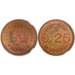Valencia, Venezuela, brass 25 centimos token, Central Tacarigua, 1927, encapsulated NGC MS 64 RB, fi