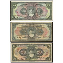 Lot of 3 Brazil notes from the Caixa de Estabilizacao: 100 mil reis, 18-12-1926, estampa 1, serial 0