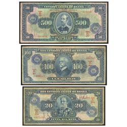 Lot of 3 Brazil, Casa da Moeda overprints on Thesouro Nacional: 500 cruzeiros overprint on mil reis,