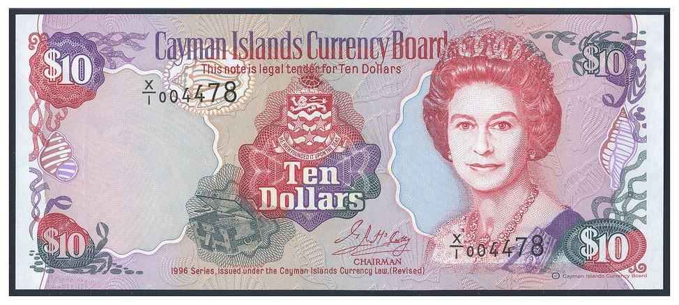 Image 1 Cayman Islands Currency Board 10 Dollars 1996 Serial X