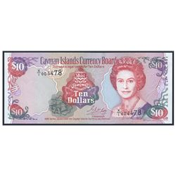 Cayman Islands Currency Board, 10 dollars, 1996, serial X/1 004478, experimental paper (X/1 note), c