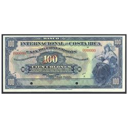 Costa Rica, Banco Internacional de Costa Rica, 100 colones specimen, no date (1924-1927), series A,