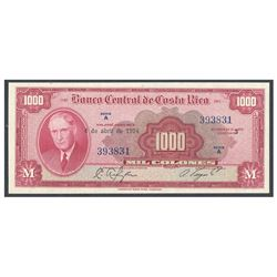 Costa Rica, Banco Central de Costa Rica, 1,000 colones, 4-4-1974, series A, serial 393831, certified