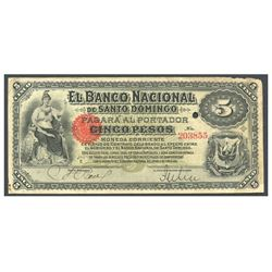 Dominican Republic, El Banco Nacional de Santo Domingo, 5 pesos, no date (1889), series E, serial 20