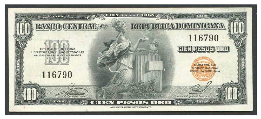 Image 1 Dominican Republic Banco Central De La Republica Dominicana 100 Pesos Oro