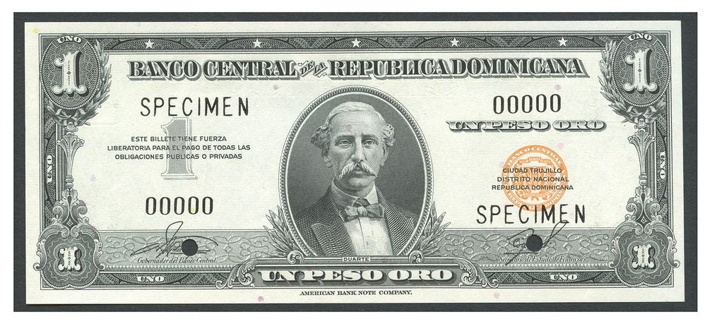 Image 1 Dominican Republic Banco Central De La Republica Dominicana Peso Specimen