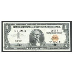 Dominican Republic, Banco Central de la Republica Dominicana, 1 peso specimen, no date (1962).