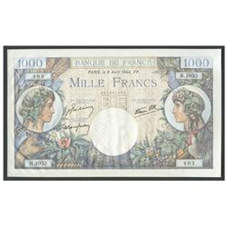 France, Banque de France, 1,000 francs, 6-4-1944, series H, serial 051357403.