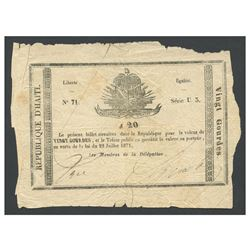 Haiti, Government du Sud d'Haiti, uniface 20 gourdes, 22-7-1871, series U3, serial 71.