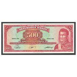 Haiti, Banque de la Republique d'Haiti, uniface 500 gourdes front proof, 1988, series 1988.