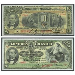 Lot of 2 Mexico, El Banco de Londres y Mexico (Distrito Federal) notes: 10 pesos specimen, no date (