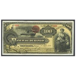 Mexico, El Banco de Durango, 100 pesos, 1-1-1914, series H, serial 0496.