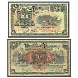 Lot of 2 Paraguay notes: Republica del Paraguay, 200 pesos fuertes, ley 1920 and 1923, serial A26667