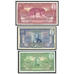 Lot of 3 Paraguay notes: Banco Central del Paraguay, 1,000 guaranies, 25-3-1952, series A, serial 14