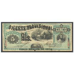 Peru, Billete Provisional, 5 reales de inca overprint on cinco soles, 1-9-1881.