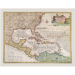 British copperplate-engraved map of the West Indies and the coasts of North and South America by Ema