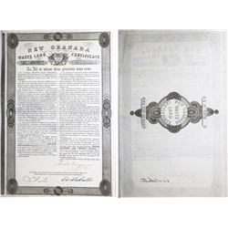Colombia, New Granada Waste Land Certificate for 320 hectares, dated 1-6-1861, serial 6378.