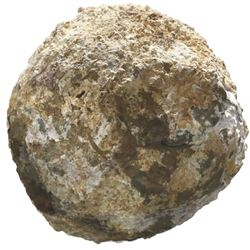 Encrusted stone cannonball, rare.