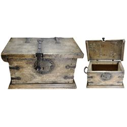Spanish colonial iron-bound money chest, 1700s to early 1800s.