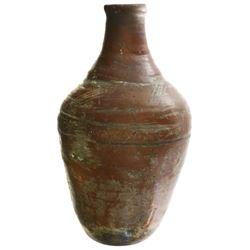 Earthenware oil/wine bottle, colonial period (mid-1700s), from Haiti.