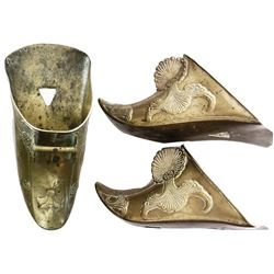 Pair of Spanish colonial cast brass stirrups (estribos), 1700-1800s, from Colombia.
