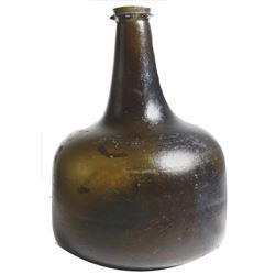 "English black-glass ""horse hoof onion"" bottle, ca. 1720s-40s."