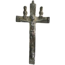Cast bronze African crucifix, 1800s.