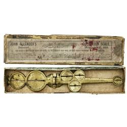 Brass balance scale for gold coins in original box, ca. 1855.
