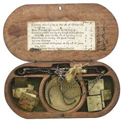 Georgian British balance scale for gold guineas in wooden case, late 1700s.
