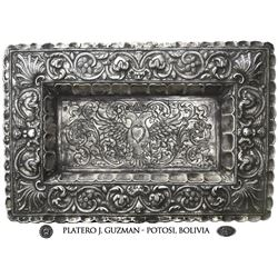 Large, ornate, rectangular silver tray from Potosi, Bolivia, late 1800s, silversmith J. Guzman (stam