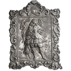 Large, ornate, rectangular silver wall-hanging from the Caribbean, late 1800s to early 1900s, angel