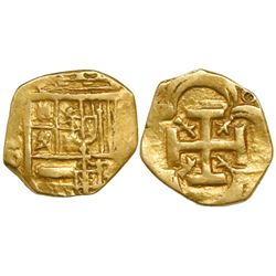 Seville, Spain, cob 2 escudos (cut down to 1E size), Philip IV, assayer D.