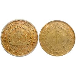 Santiago, Chile, 1 escudo, 1834IJ, encapsulated ICG VF20.