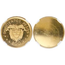 "Bogota, Colombia, gilt brass reverse trial, proof 200 pesos, Eucharistic Congress (1968, ""pope set"")"