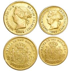 Lot of 2 Philippines (under Spain) gold coins of Isabel II: 2 pesos 1862/1 (unlisted overdate) and 1