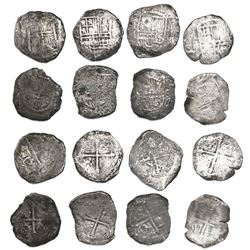 Lot of 8 Mexico City, Mexico, cob 8 reales, Philip III, assayer F (where visible).